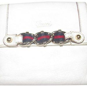 Gucci White Textured Gold Chain Red Navy Stripes